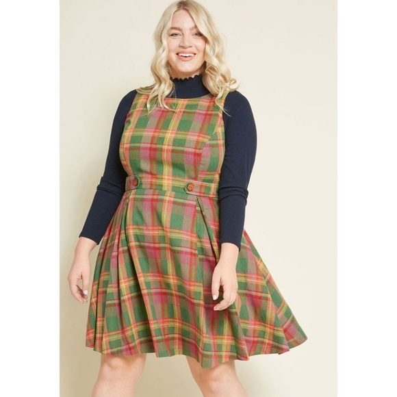 Modcloth Dresses & Skirts - Modcloth Something Sixties Green Plaid Dress 2X